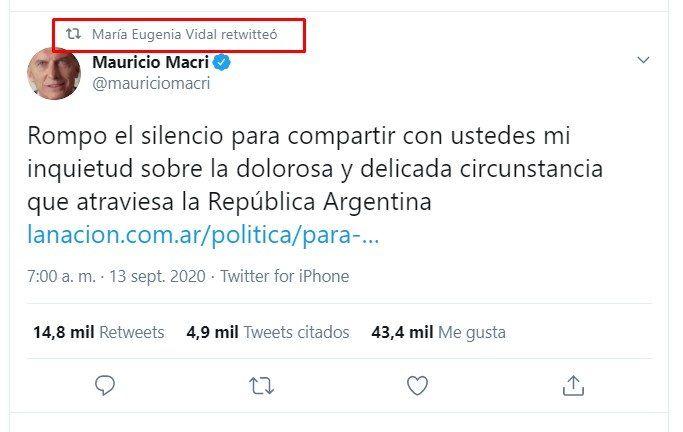 El retuit de Vidal a la carta -muy confrontativa- que publicó Mauricio Macri.