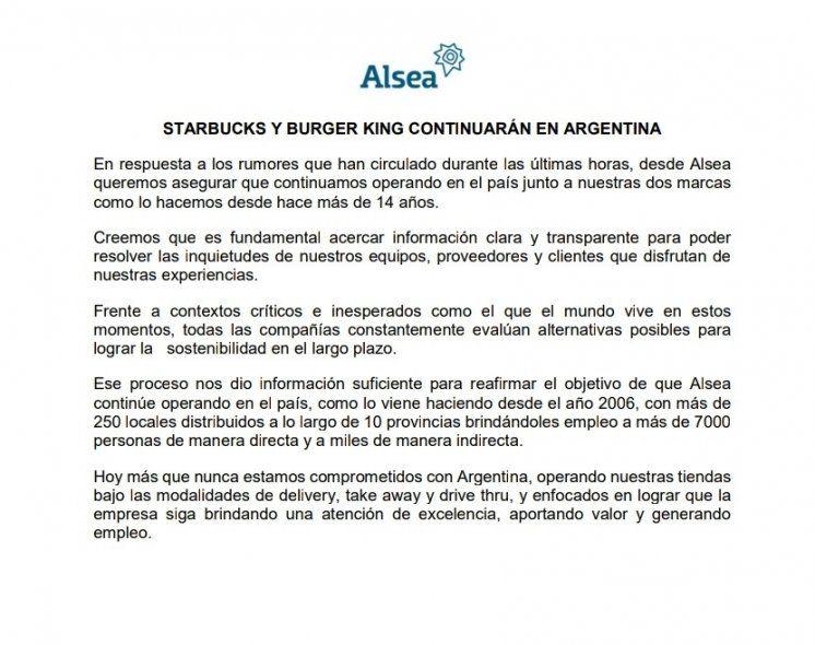 """Starbucks y Burger King aseguran estar comprometidos """"más que nunca"""" con Argentina"""