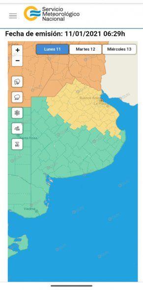 El alerta amarillo por tormentas fuertes fue emitido este lunes por el SMN.