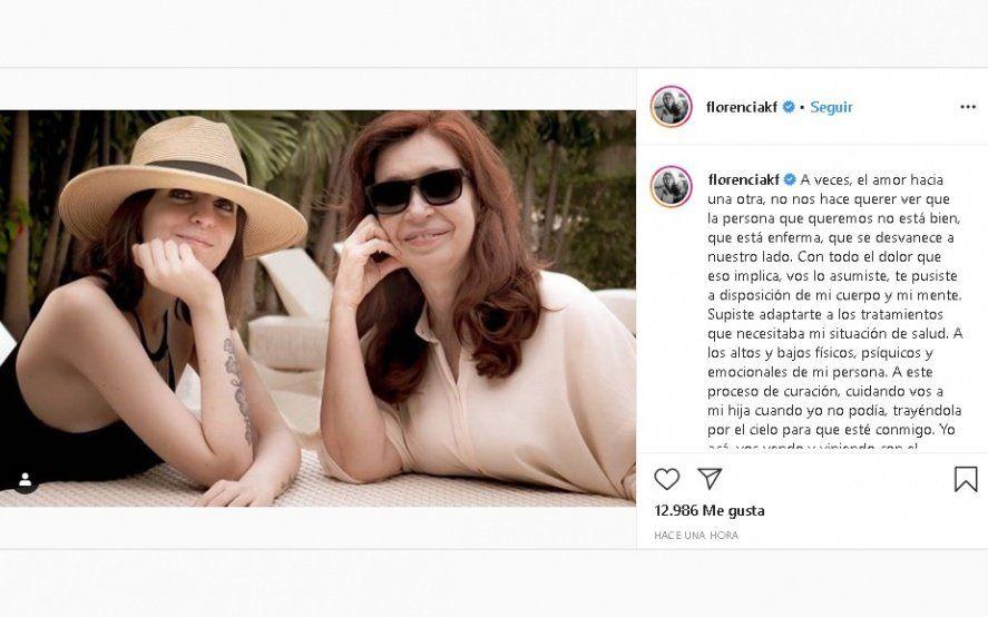 """El saludo y el agradecimiento de Florencia a CFK: """"Te pusiste a disposición de mi cuerpo y mi mente"""""""