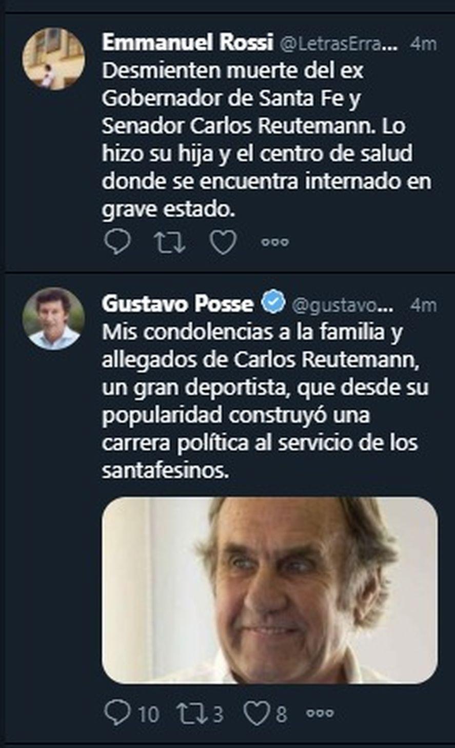 Gustavo Posse, intendente de San Isidro, fue uno de los políticos que creyó la fake news de TN y La Nación, y envió públicamente sus condolencias haciéndose eco de la supuesta muerte de Carlos Reutemann