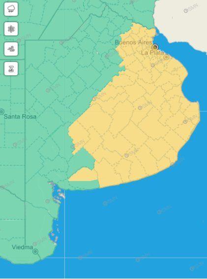 El alerta amarillo rige para gran parte del territorio provincial.
