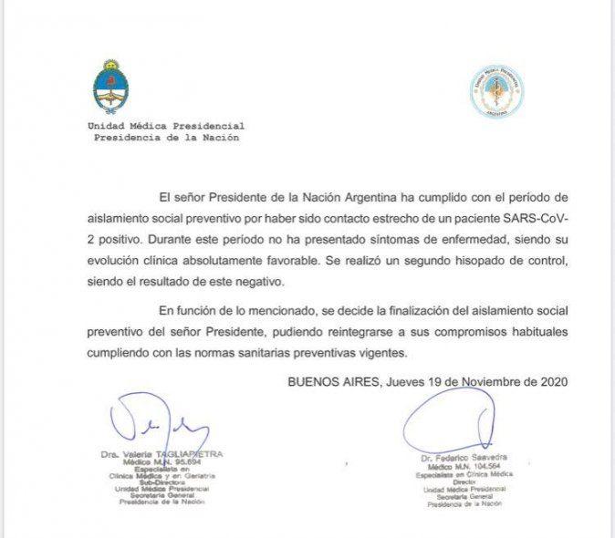 Tras segundo hisopado negativo, Alberto Fernández finaliza su aislamiento