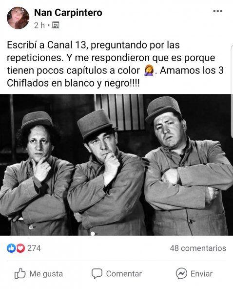 Televidentes de la serie Los Tres Chiflados, que emite Canal 13, se muestran esfafados porque los episodios que se ven son siempre los mismos