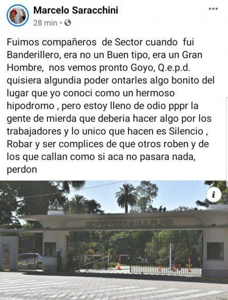Los saludos se multiplican en las redes de sus amigos y quienes conocieron a este trabajador del turf, que encontró la muerte tempranamente en un accidente en el Hipódromo de La Plata esta mañana
