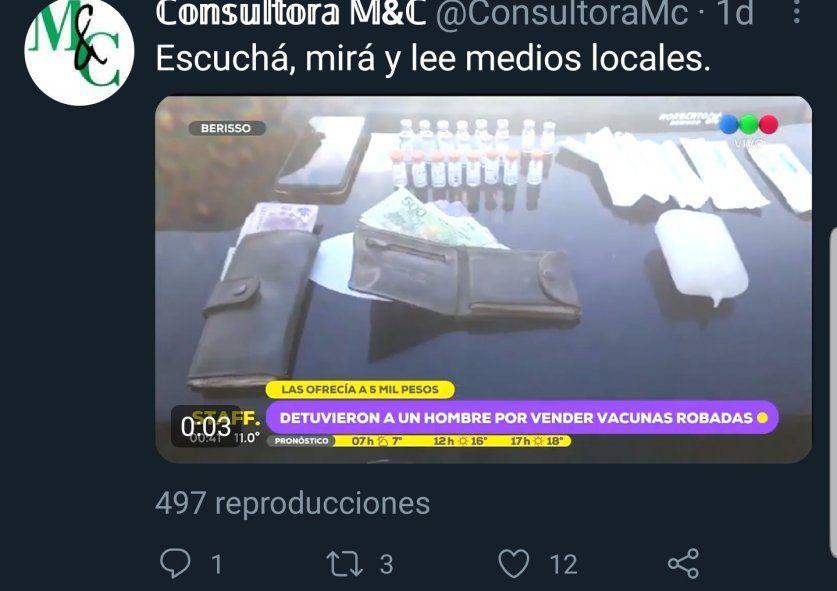 La recomendación de la cuenta de Twitter Consultora M&C dedicada a resaltar producciones de medios platenses