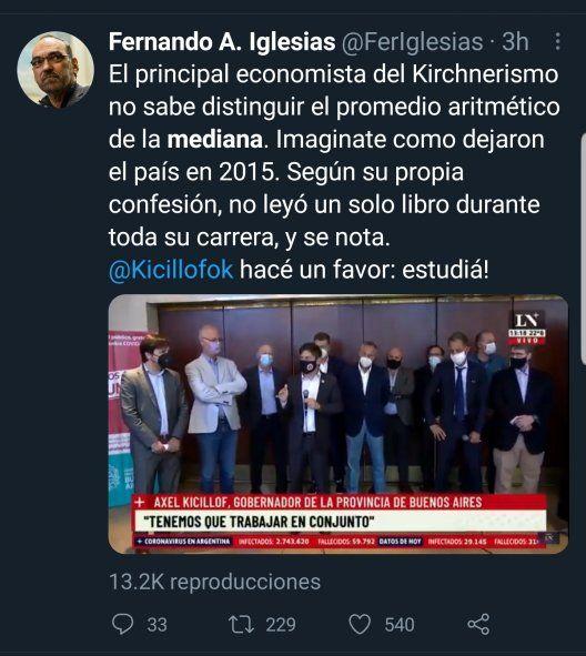 """El tweet del diputado Fernando Iglesias en donde hostiga y se burla del Gobernador Kicillof por haber utilizado el término promedio, cuando debió haber usado """"mediana"""""""