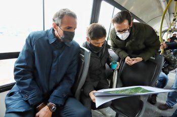 Gabriel Katopodis, Axel Kicillof y Agustín Simone, durante la recorrida.