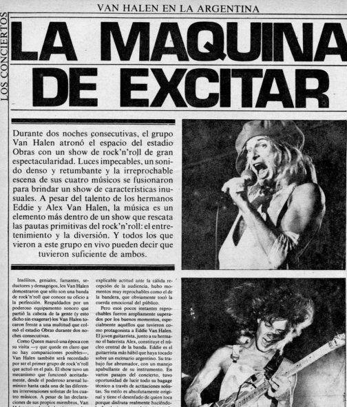 Publicación de la cobertura de los dos shows de Van Halen en Argentina