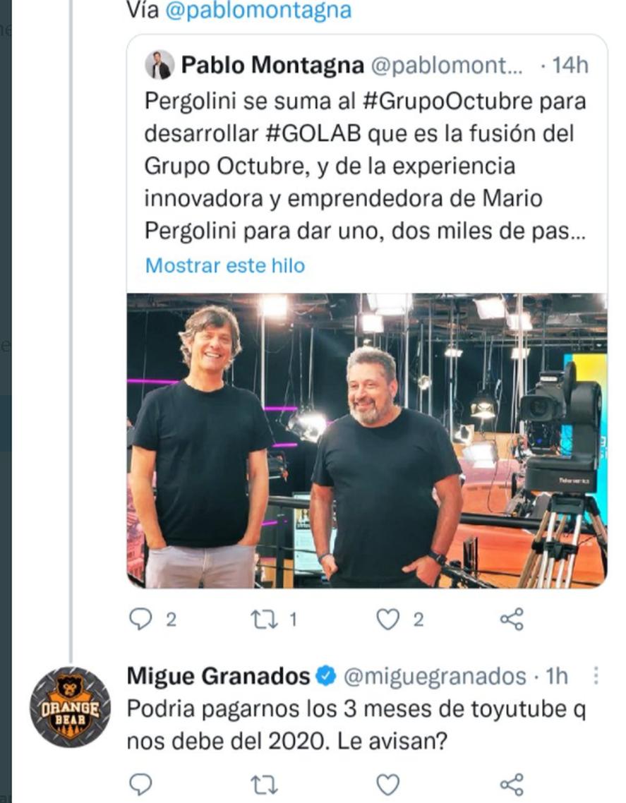 Uno de los tuits de Migue Granados contra MArio Pergolini
