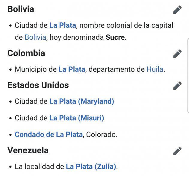 La denominación La Plata para una ciudad no es exclusiva de la capital de la Provincia de Buenos Aires. Hay al menos 5 más en el mundo