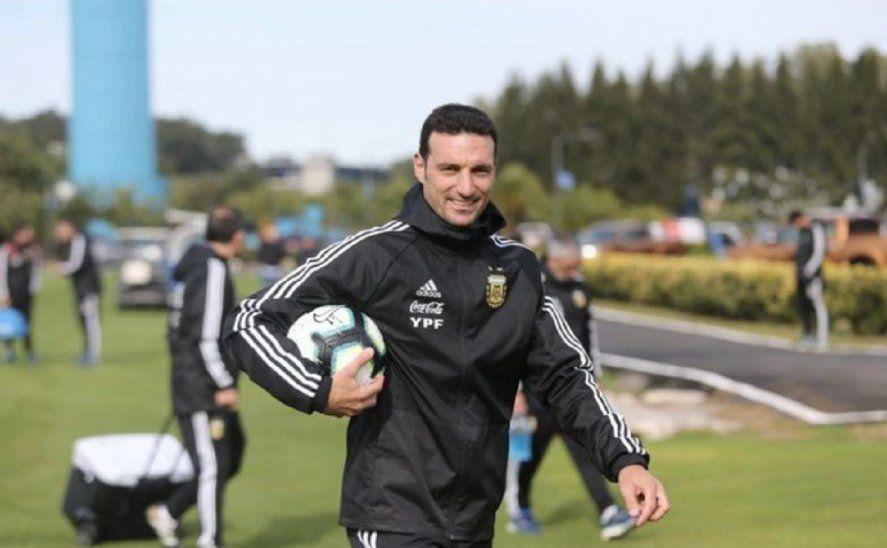 Lionel Scaloni entrenador de la Selección Argentina en el predio de Ezeiza.