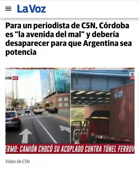 El título del diario de Córdoba La Voz perteneciente al Grupo Clarín