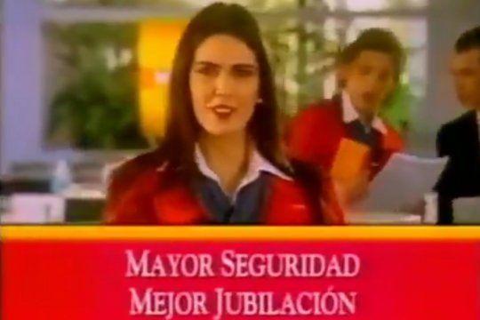 Viviana Canosa y el ex ministro de la producción de Mauricio Macri, Francisco Cabrera en un aviso publicitario de la extinta AFJP Máxima