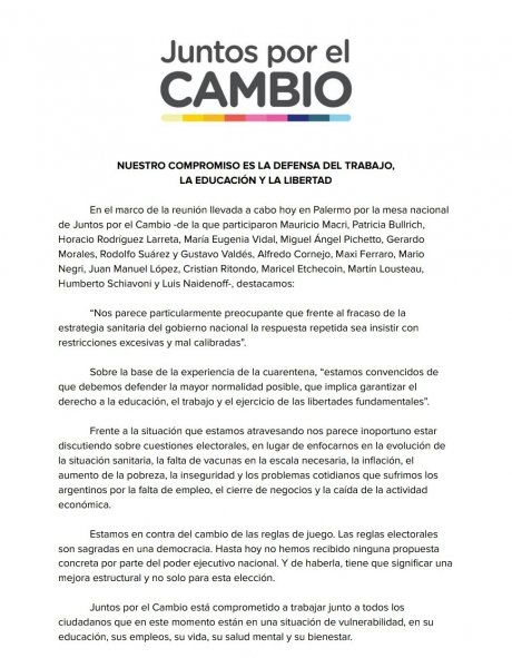 El comunicado de la Mesa Nacional de Juntos por el Cambio