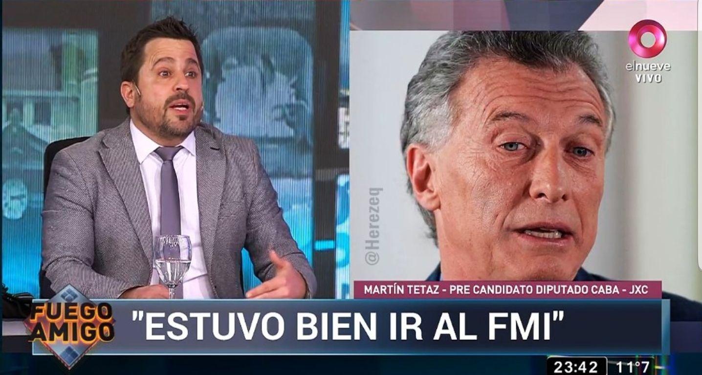 Martín Tetaz el candidato que secundará en la lista de CABA a María Eugenia Vidal para diputados nacionales defendió a ultranza la toma de deuda del gobierno de Mauricio Macri ante el FMI