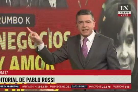 Pablo Rossi también integra la lista de periodistas iluminatis que saben del poder cósmico de la letra K, y por eso usan a Cristina Kirchner como excusa para impulsar sus carreras mencionando la letra.