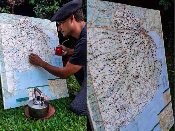 El mapa de la provincia en el que Iván marca cada lugar al que va. Foto: gentileza Iván Engels.