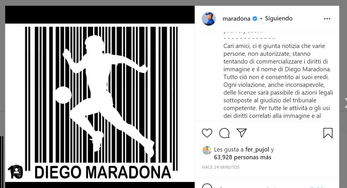 La publicación en la cuenta de Maradona generó sorpresa y lle´go con avisos legales.