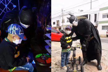 Máximo fue el primer invitado a la baticueva de Batman Solidario