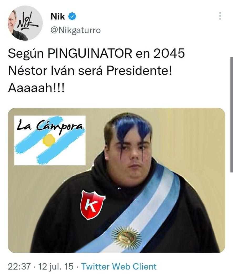 Tweets de Nik burlándose de Nestor Iván Kirchner cuando era un bebé recién nacido