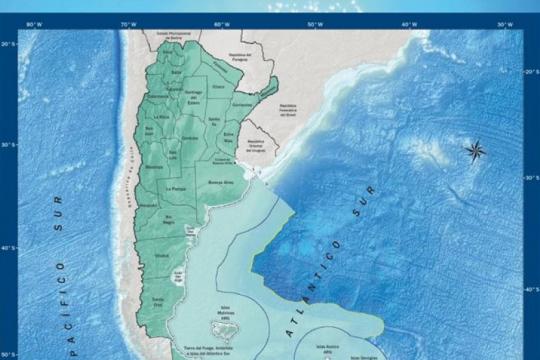 nuevo mapa de la argentina: conoce la imagen de la plataforma continental ampliada que presento cafiero