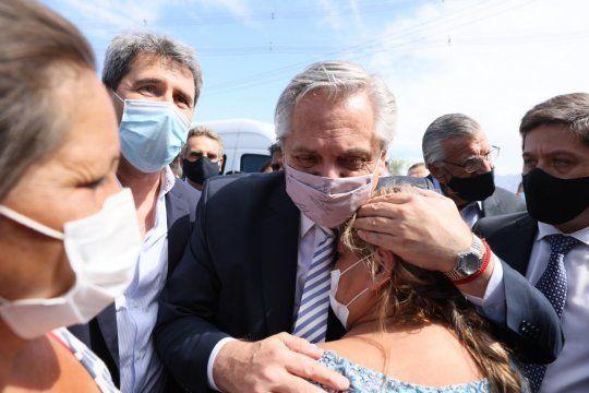 Alberto Fernández visitó a los afectados por el terremoto en San Juan.