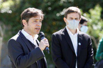 Axel Kicillof y Augusto Costa, durante el anuncio del fondo para la cultura y el turismo