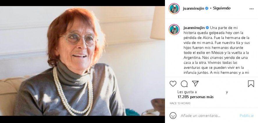 Juan Minujín le dedicó un posteo a Alcira Argumedo