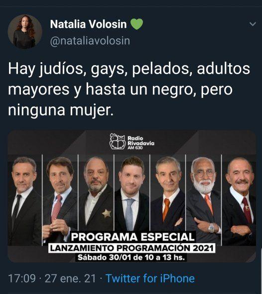Uno de los tweets más duros criticabdo ka ausencia de mujeres en Radio Rivadavia