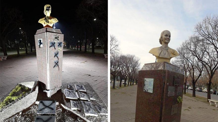 Vandalizaron el busto de Eva Perón en Necochea