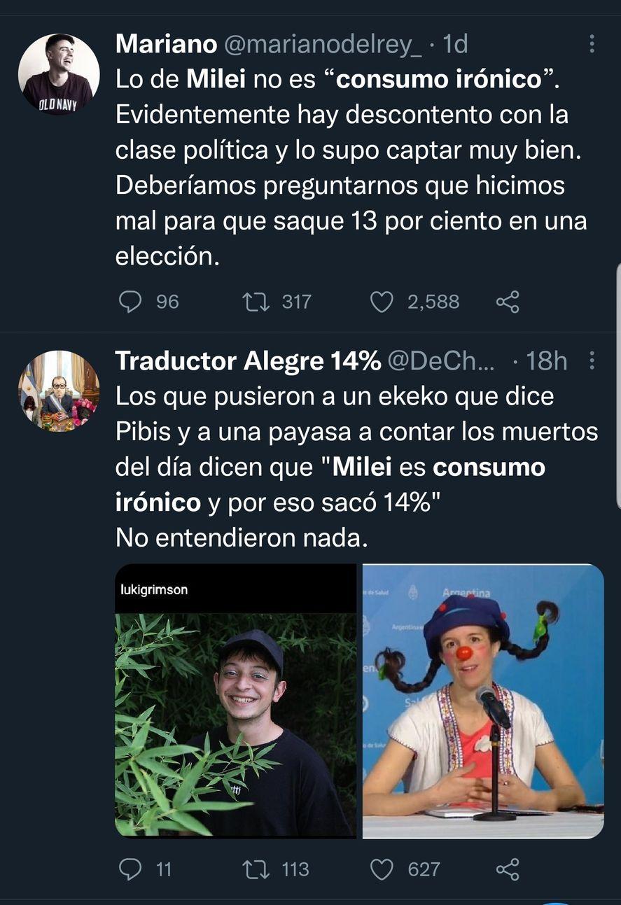 Ayer, muchos debates en Twitter, giraban en torno a la posibilidad de que el consumo irónico haya funcionado como instalador de la figura de Javier Milei
