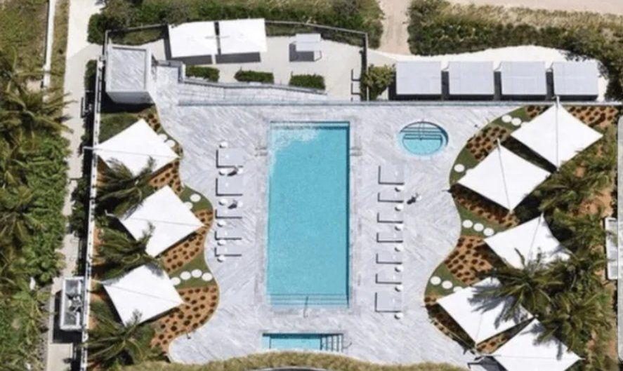 Una de las 6 piletas de natación que se suma a las innumerables amenities que posee el edificio Regalia en donde compró su departamento Lionel Messi en Miami