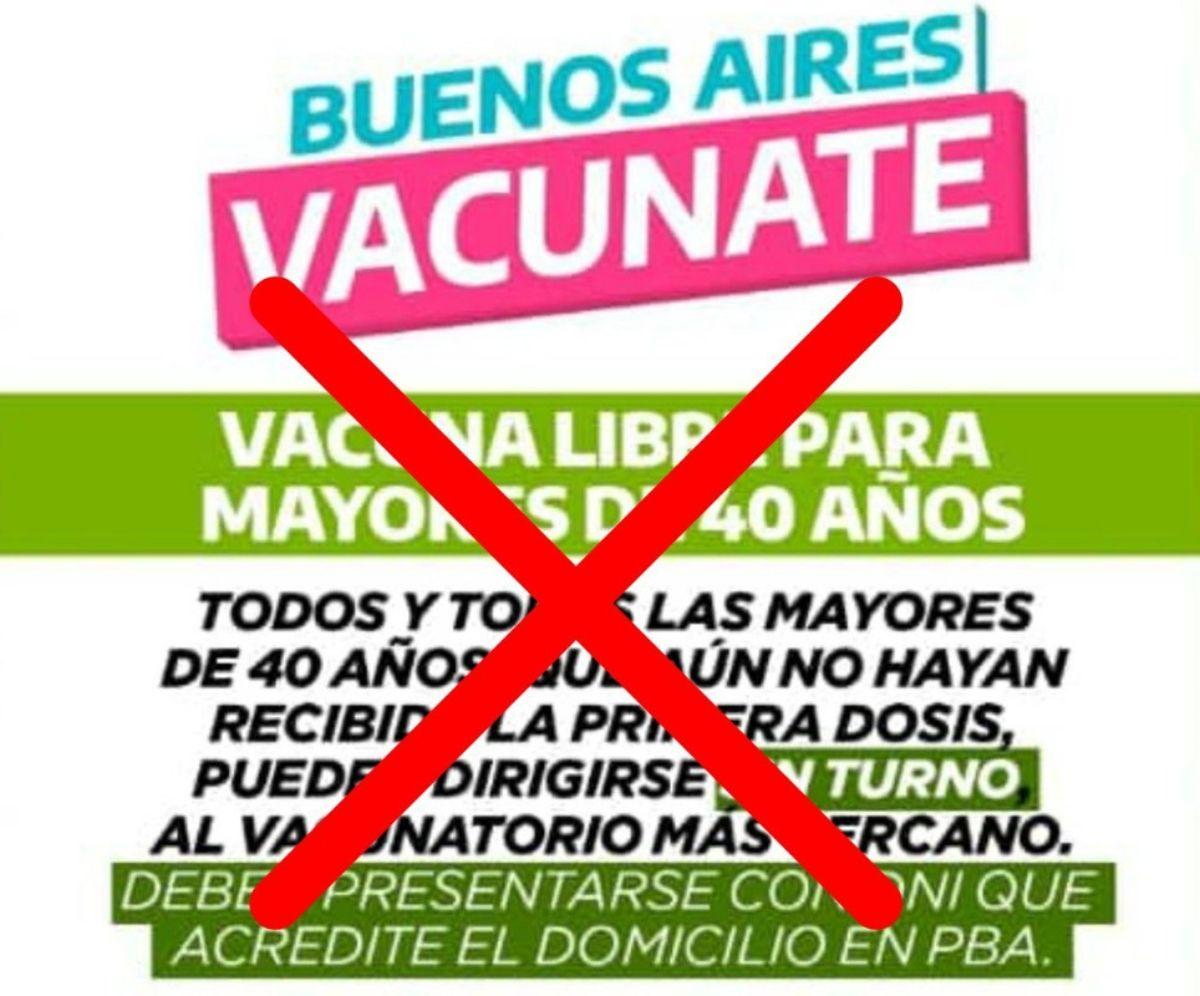 La información de vacunación libre para mayores de 40 años que circula en el servicio de mensajería es falso