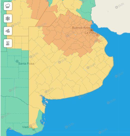El SMN emitió un alerta naranja y otro amarillo por tormentas en la Provincia.
