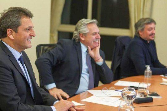 Sergio Massa, Alberto Fernández y Máximo Kirchner, el tridente que negocia cómo serán las PASO.