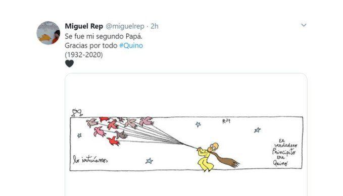 Adiós a Quino: el humorista gráfico Rep le dedicó una obra y un sentido mensaje.