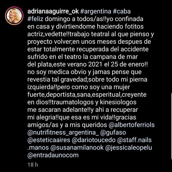 En uno de sus posteos en Instagram, Adriana Aguirre explicó su situación de salud y laboral debajo de sus fotos con un exótico trabajo de photoshop