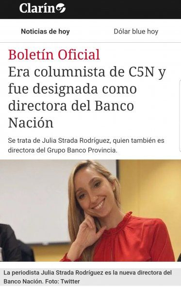 El diferente tratamiento de la noticia en Clarín acerca de la designación de la economista Julia Strada en el Banco Nación a cuando sucedió con Nicolás Dujovne al frente del Ministerio de economía de Macri