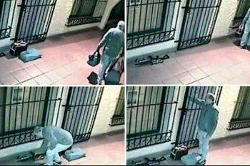 A 5 años de la detención de Jose López por estas imágenes de la puerta del Convenio de General Rodríguez con el arma, los bolsos y el dinero