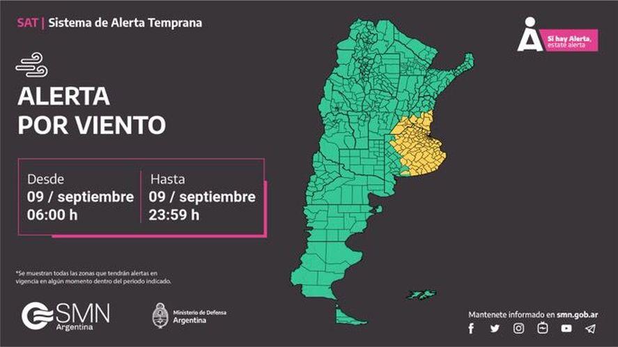 Rige el alerta meteorológico en gran parte de la provincia de Buenos Aires.