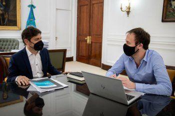 Axel Kicillof junto a Pablo López, en la reunión por el presupuesto 2021.