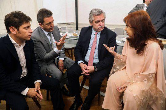 Alberto, Cristina, Massa y Kicillof juntos