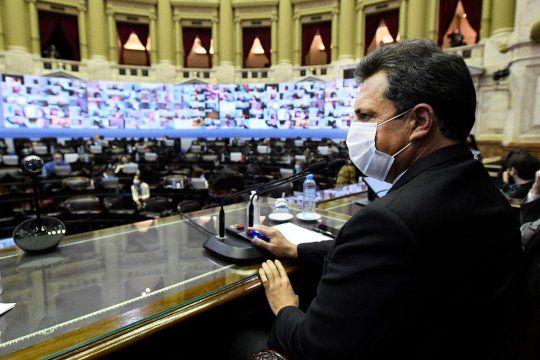 Sergio Massa impulsó y presidió la primera sesión virtual de la historia de la Cámara de Diputados.