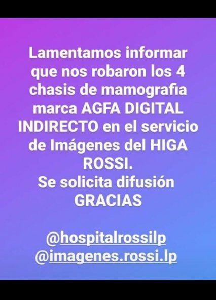 Robaron equipamiento en el Hospital Rossi de La Plata