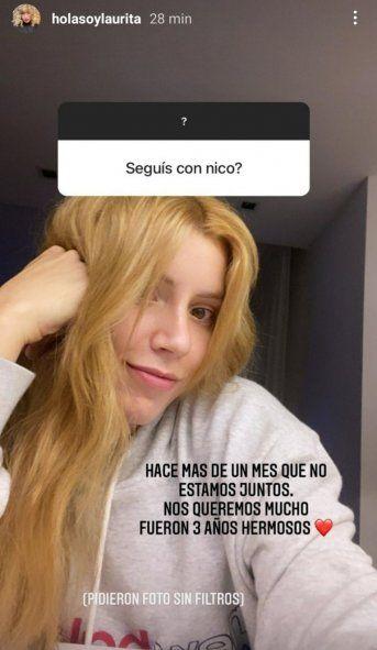 Laurita Fernández confirmó que se separó de Nico Cabré