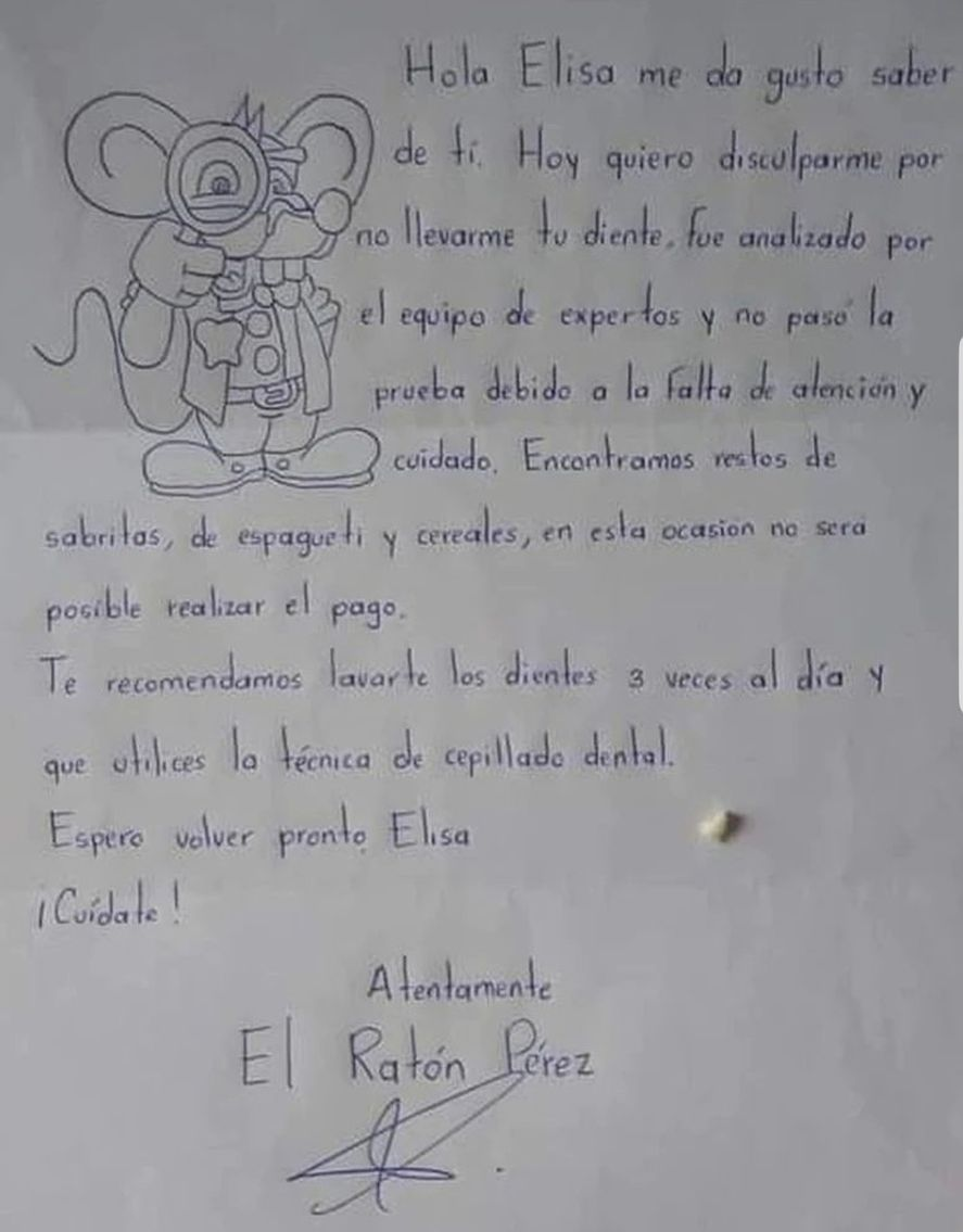 La carta viralizada del Ratón Pérez a la pequeña Elisa
