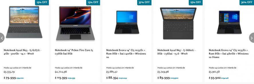 Algunas de las computadoras en promoción que figuran en la web de Banco Nación