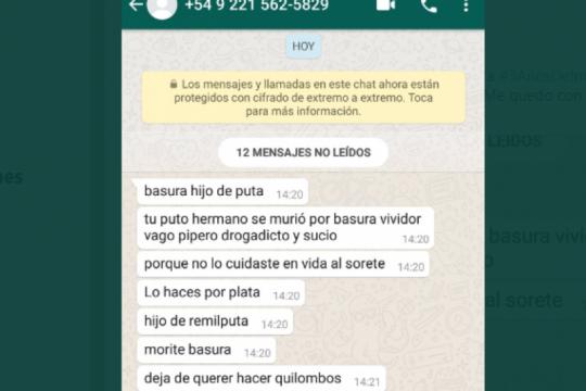 amenazaron a la familia de santiago maldonado desde un telefono de la plata