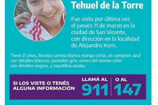 Investigan si Tehuel De la Torre estuvo en Caleta Olivia la semana pasada